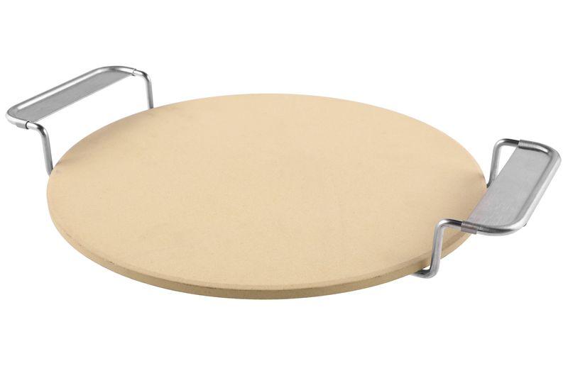 Mustang Pizzastein | Ø 36 cm  | 1 cm starker Cordierit | Edelstahl Metallständer