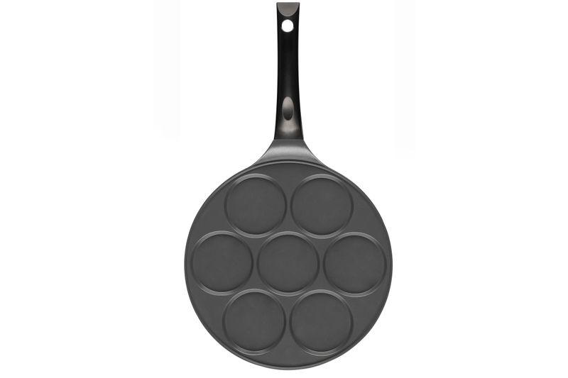 Maku Pancake Pfanne Ø 26cm | 7-Loch Aluminiumgusspfanne | ideal für Wachteleier und Mehlspeisen