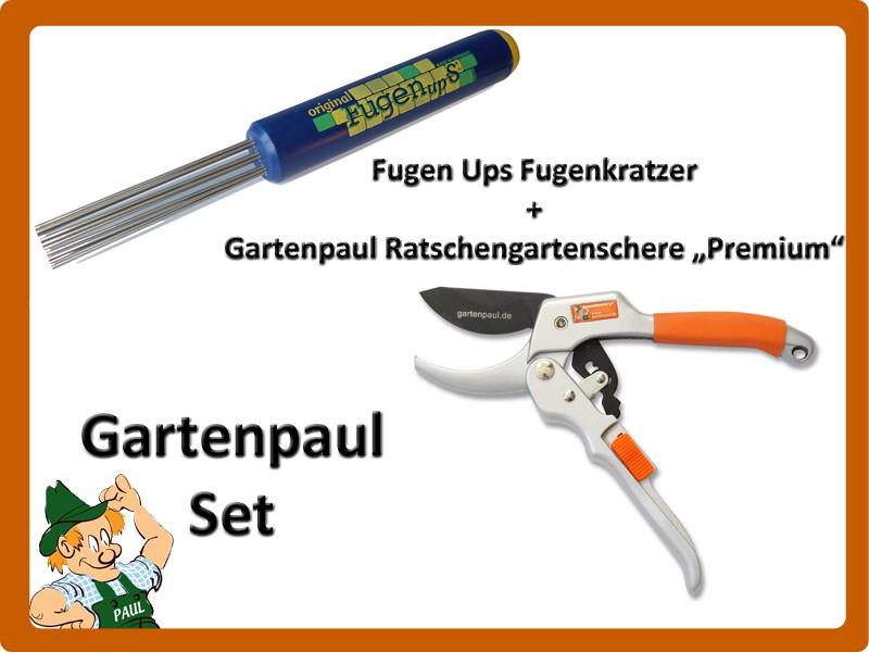 "Gartenpaul Set: Fugen Ups Fugenkratzer + Gartenpaul Ratschengartenschere ""Premium"""