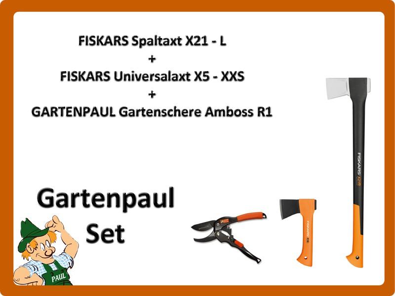 Gartenpaul Set: FISKARS Spaltaxt X21 - L + FISKARS Universalaxt X5 - XXS + GARTENPAUL Gartenschere Amboss R1