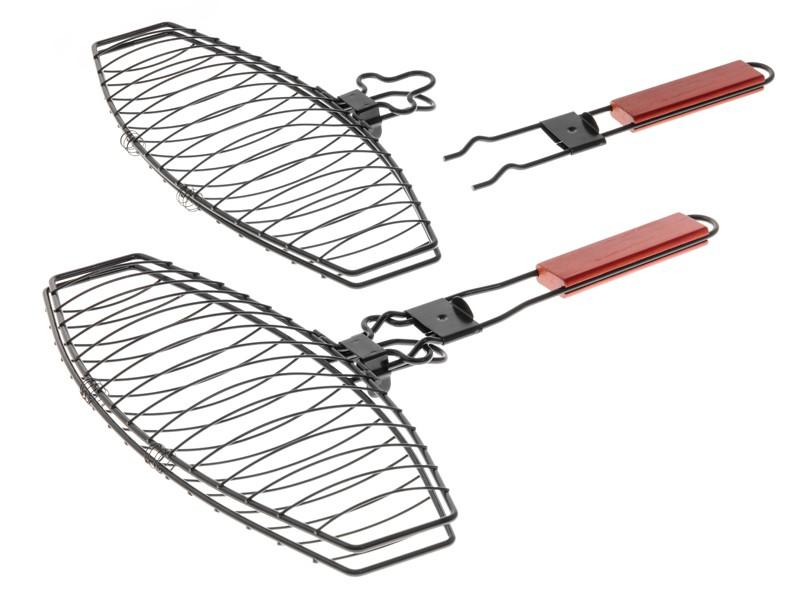 MUSTANG Fischgriller mit Antihaftbeschichtung und abnehmbaren Griff 41x24cm