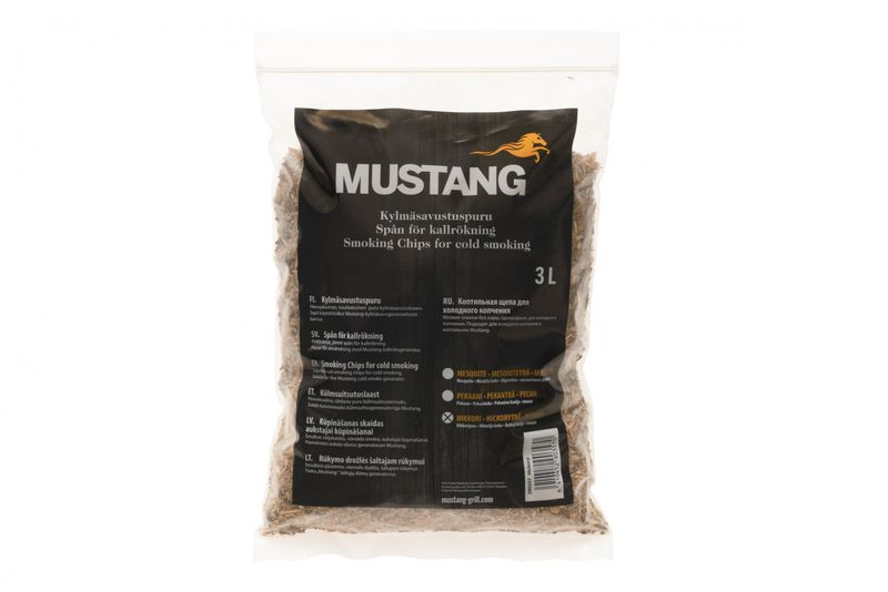 Grillpaul Mustang Räuchermehl Hickory | Körnung 0,4 -1 mm | Räucherspäne | Räucherchips | 3 Liter Sack | 820g