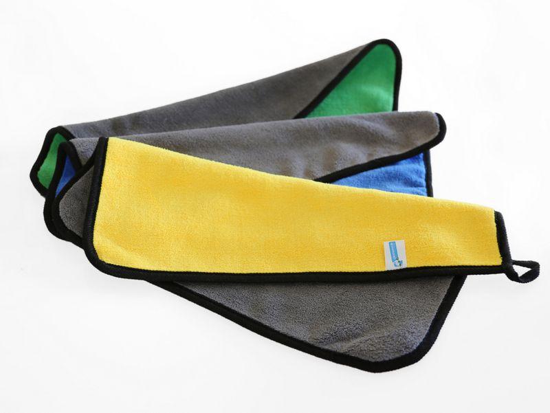 Cleanpaul 3er Set Reinigungstücher Mikrofasertücher mit 1000 g/qm extrem saugfähige Mikrofaser 40x30cm, für Auto&Motorrad, EDV & Smartphone, Küche & Bad